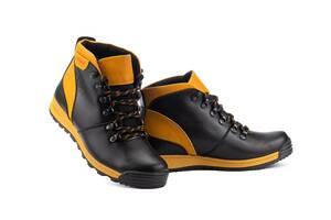 Подростковые ботинки кожаные зимние черные-рыжие Brand T2