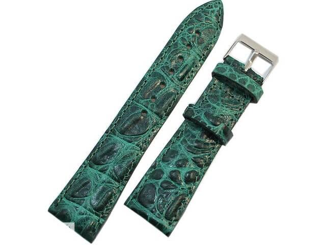 Прочный кожаный мужской ремешок для часов под кожу крокодила Mykhail Ikhtyar 22-026 зеленый- объявление о продаже  в Киеве