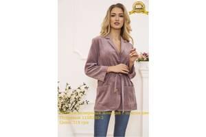 Пиджак велюровый женский с поясом цвет Пудровый 115R389-2