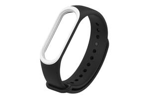 Ремешок для фитнес браслета Xiaomi Mi Band 3 и 4 Black with white