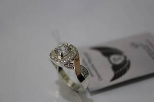 Серебряное кольцо с золотом и фианитами ch0015