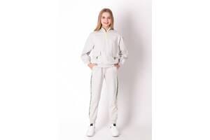 Серый спортивный костюм для девочки в школу с карманами и яркими молниями Mevis 3727-01