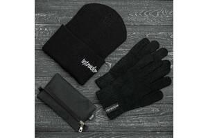 Шапка черная зимняя small logo и перчатки черные зимний комплект и Подарок SKL59-283394