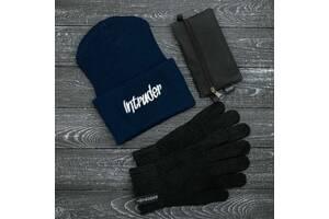 Шапка синяя зимняя big logo и перчатки черные и Подарок SKL59-283387