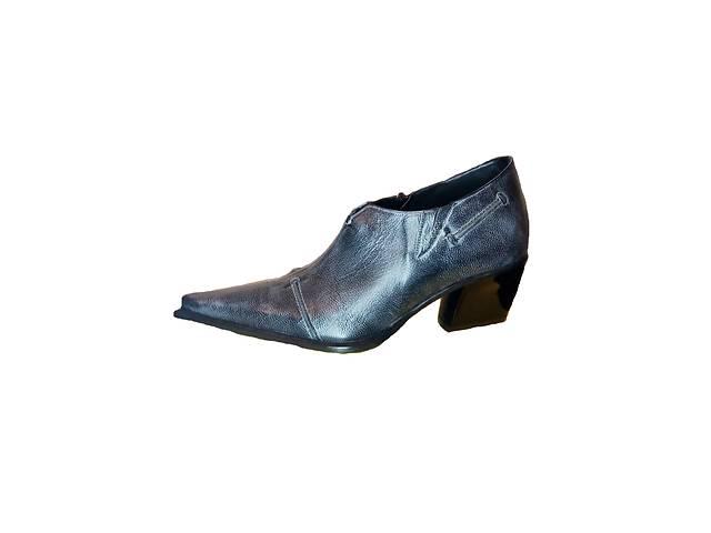 продам Кожаные туфли казаки Escada, синий джинс, размер 37 бу в Киеве