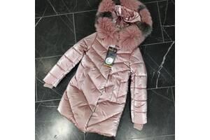Шикарне зимове пальто для дівчинки Оксамит з натуральним хутром, новинка