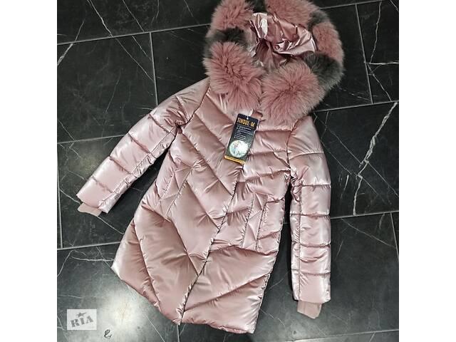 купить бу Шикарное зимнее пальто для девочки Бархат с натуральным мехом, новинка в Харькове