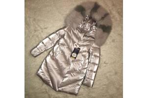 Шикарне зимове пальто для дівчинки Оксамит Перли з натуральним хутром, до мінус 30 морозу