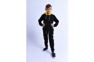 Спортивный костюм для мальчика Chirks Худи + штаны SK00355 122 Черный с желтым
