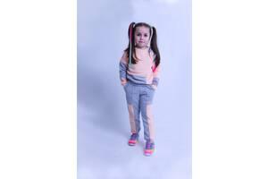 Спортивный костюм на девочку Chirks Свитшот + штаны «Пазл» SK00365 122 Пудровый с серым