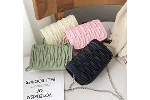 Стильная элегантная сумка клатч на цепочке зеленый