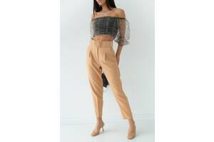 Стильные брюки с высокой талией и поясом