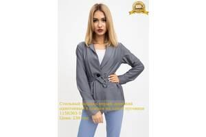 Стильный пиджак серый, женский однотонный с поясом на одной пуговице 115R363-5