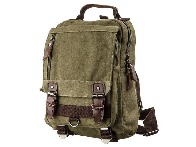 купить бу Сумка-рюкзак на одно плечо Vintage  Оливковая Vntg20141 в Киеве
