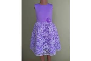 Праздничная детская платье с гипюром, лавандового цвета, модель № 105