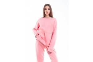 Свитшот Женский демисезонный Basic розовый на флисе Oversize SKL59-283404