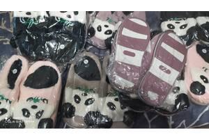 Тапочки панда пушистые  без задника