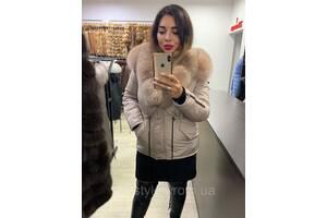 Теплая зимняя куртка с мехом песца