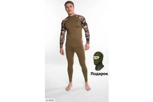 Термобелье мужское с принтом на руках цвета хаки SKL11-276534
