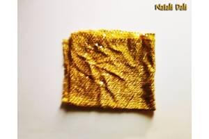 Ткань трикотаж-блестки ярко-желтая золота - отрез 50x110 см