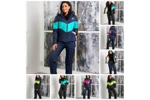 Трендовый женский зимний костюм стёганный спортивный куртка на овчине штаны на синтепоне