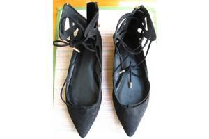 Туфли балетки 40 р. 26 см чёрные, молния, шнуровка, остроносые, торг