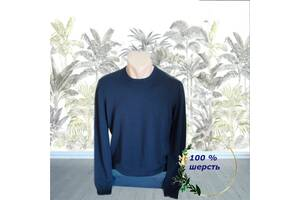 Uniqlo  100 % шерсть Тонкий шерстяной мужской свитер т синий L