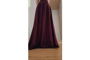 Вечерняя юбка в пол макси бордовая