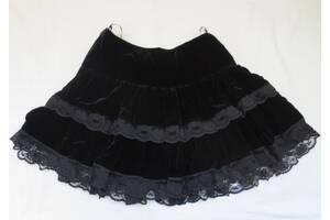 Юбка школьная черная бархат с кружевом размер S