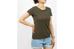Женская коричневая футболка с круглым вырезом повседневная Hanes