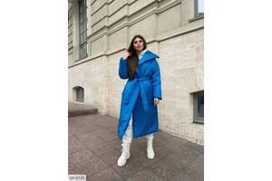 Жіноча подовжена куртка ковдру синя SKL11-279636