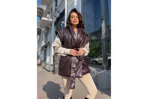 Женская жилетка под пояс цвет шоколад SKL11-290645