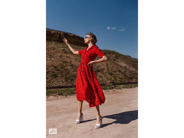 бу Женское платье красного цвета в белый горох SKL11-292698 в Харькове