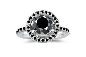 Женское серебряное родированное кольцо с черными муассанитами )