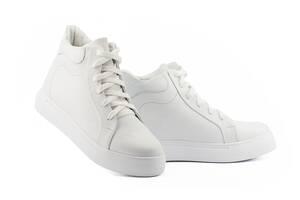 Женские ботинки кожаные зимние белые Yuves 595 На меху