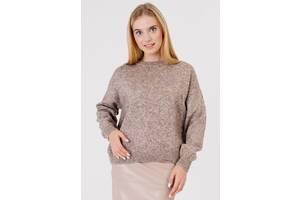 Женский свитер из смесовой шерсти со спущенным рукавом Bessa 6370-L-XL оверсайз коричневый