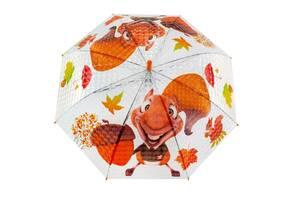 Зонтик детский BT-CU-0033 прозрачный, тросточка (Белка)