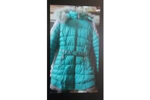 Зимнее очень теплое пальто на девочку 8-9лет