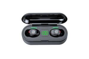 Беспроводные bluetooth наушники BFY TWH F9 Origin кейс с Power Bank 2000 mAh, 2 микрофона, сенсорные Black (4228OE)