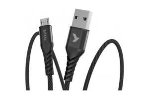 Дата кабель USB 2.0 AM to Micro 5P 1.0m Flex Black Pixus (4897058530896)