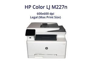 МФУ НP Color LJ M227n / лазерная монохромная печать / 600x600 dpi / Legal (Max Print Size) / 18 стр/мин / 1x USB Type...