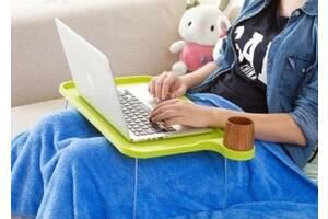 Подставка пластиковая для ноутбука на ножках с подстаканником зеленый SKL32-290151