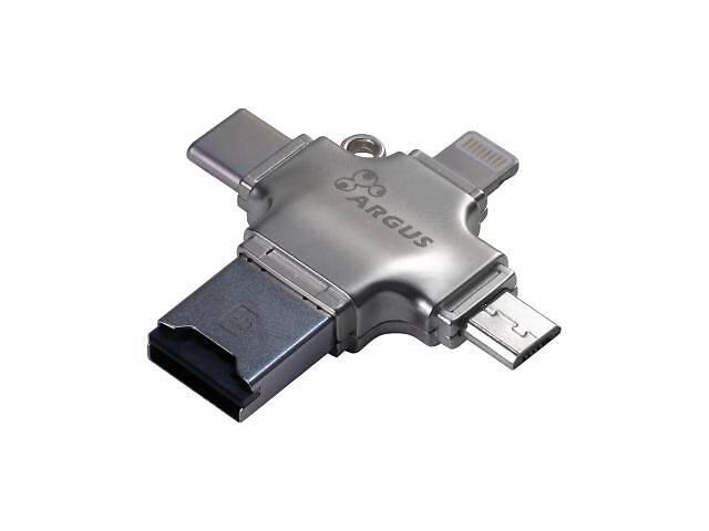 Считыватель флеш-карт Argus USB2.0/USB Type C/ Micro-USB/Lightning, TF (R-010)- объявление о продаже  в Харькове