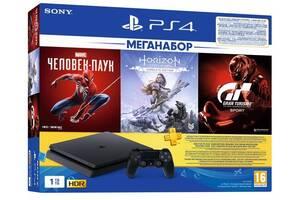 Игровая приставка PlayStation 4 Slim 1Tb (Gran Turismo + Horizon Zero Dawn + Spider Man + PSPlus 3М) (9391401)