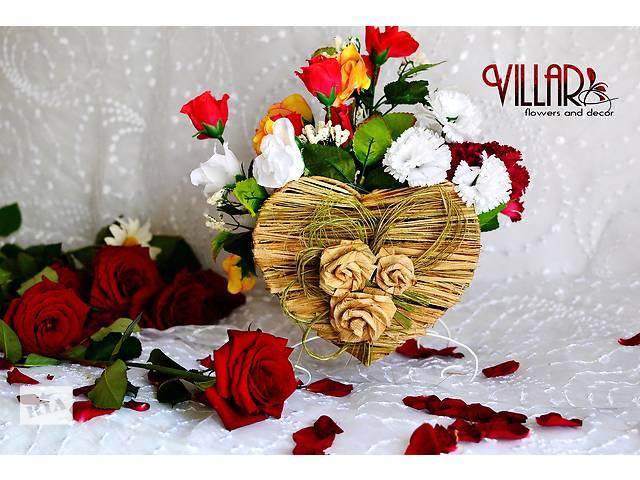 Декоративная плетеная корзина. Корзина в форме сердца. Кашпо для цветов- объявление о продаже  в Бердичеве