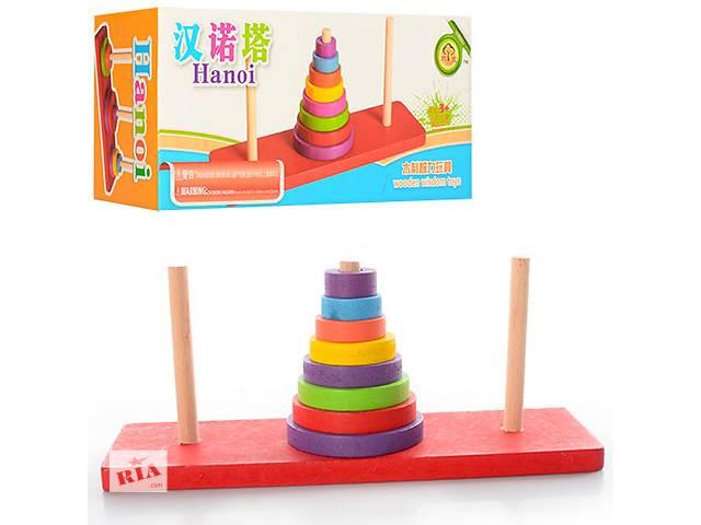 Деревянная игрушка Пирамидка кольца 8шт, в кульке, 20-8,5-6,5см- объявление о продаже  в Харькове