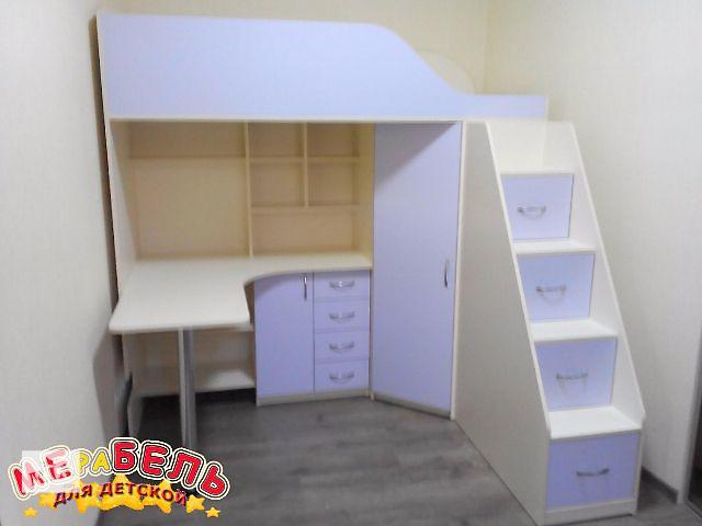 Детская кровать-чердак с рабочей зоной, угловым шкафом, тумбой и лестницей-комодом (кл21-4) Merabel- объявление о продаже  в Харькове