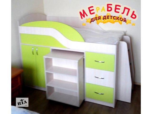 продам Детская кровать с выдвижным столом, шкафом, полками и ящиками (д18) Merabel Рассрочка бу в Харькове
