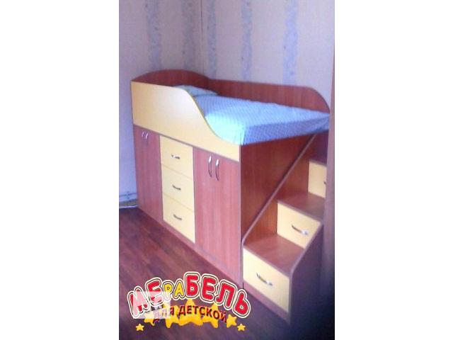 купить бу Детская кровать со шкафами, ящиками и лестницей-комодом (дл4) Merabel в Харькове