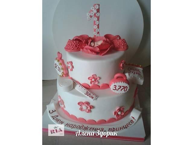 продам Детский 2-х ярусный торт на годик девочке в розово-белых тонах  бу в Киеве